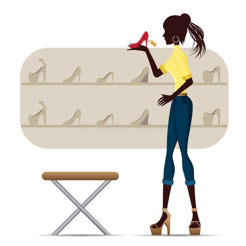 Silhouet van meisje het winkelen met hoge hiel vector illustratie
