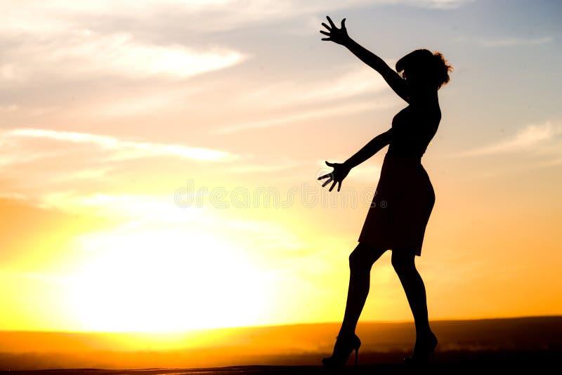 Silhouet van meisje in kleding royalty-vrije stock afbeelding