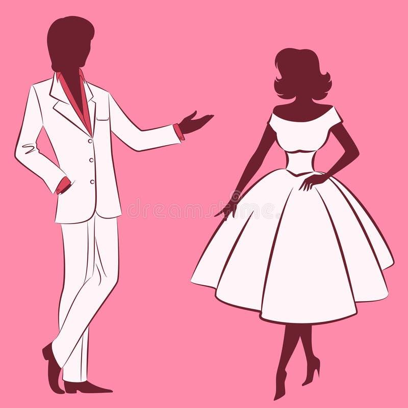 Silhouet van meisje met de mens. stock illustratie