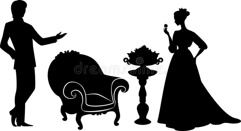 Silhouet van meisje met de mens. vector illustratie