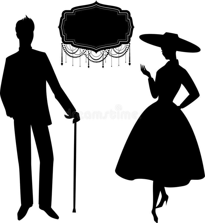 Silhouet van meisje met de mens. royalty-vrije illustratie