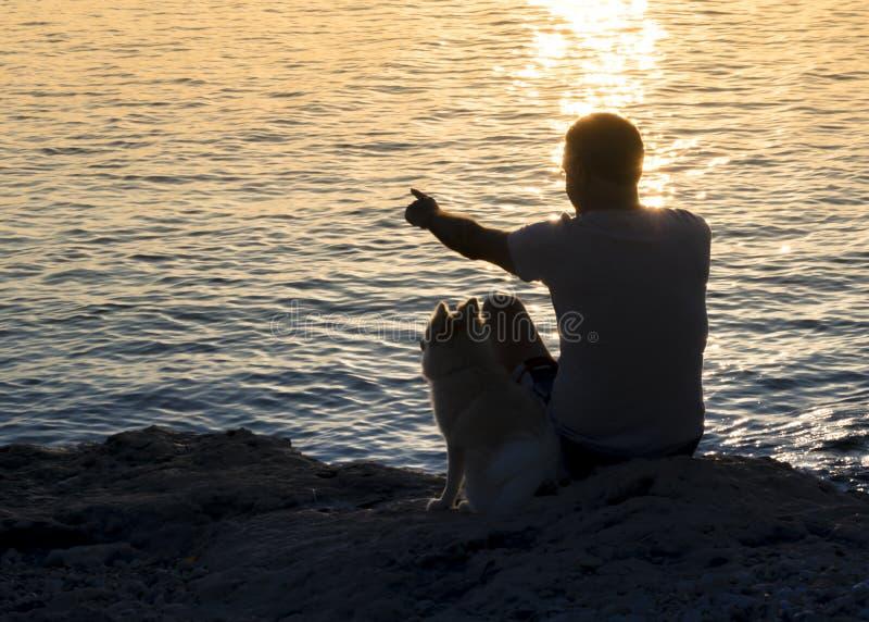 Silhouet van mens die in de afstand en de hondzitting samen op de kust richten en de zonsopgang de bekijken royalty-vrije stock foto