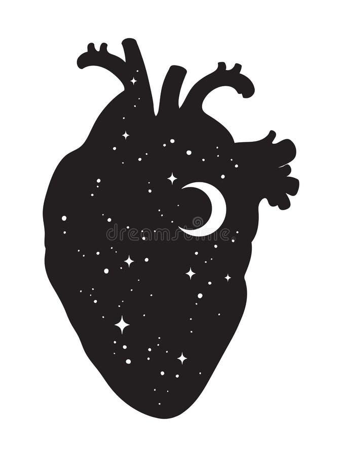 Silhouet van menselijk hart met binnen heelal Crescent Moon en Sterren Sticker, druk of tatoegeringsisola van de ontwerp vectoril vector illustratie