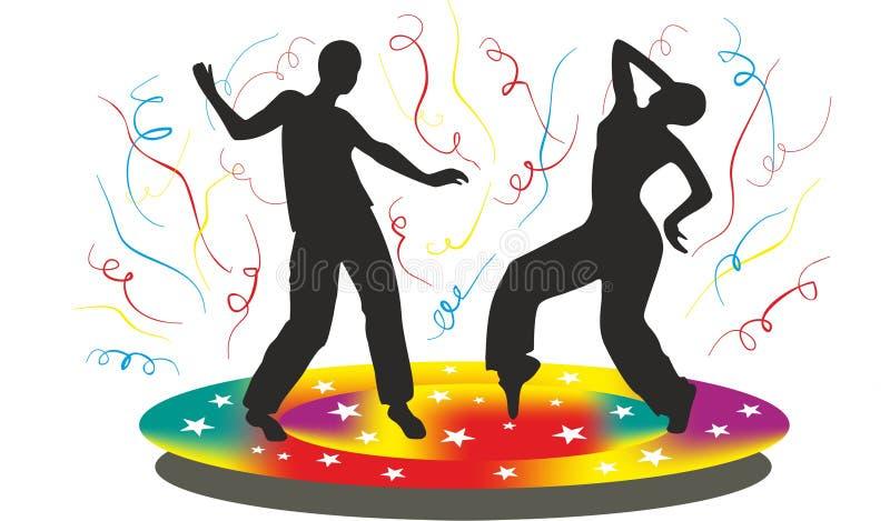Silhouet van mensen die die op disco dansen stock afbeeldingen
