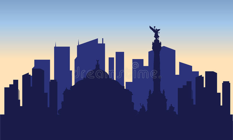 Silhouet van Mexico-City vector illustratie