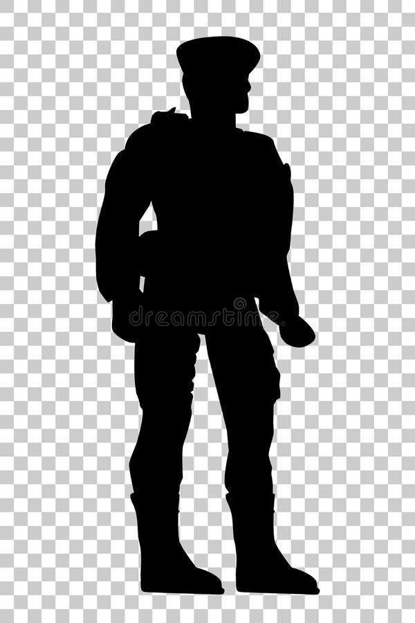 Silhouet van Militair, Laag Hoekperspectief, bij Transparante Effect Achtergrond vector illustratie