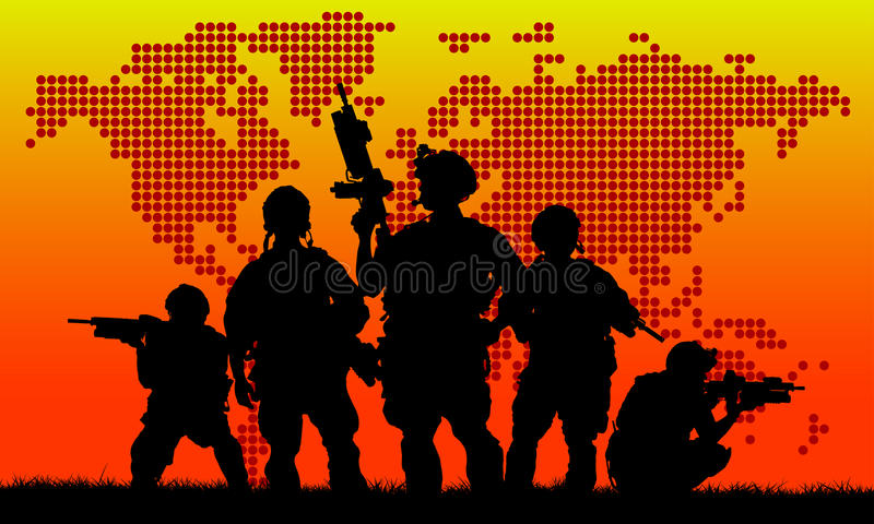 Silhouet van militair team vector illustratie
