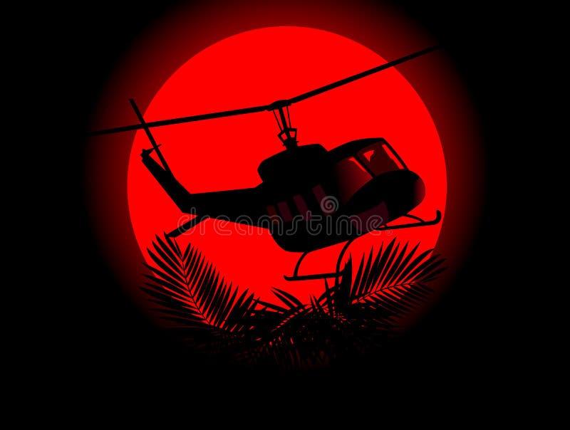 Silhouet van militaire helikopter stock illustratie