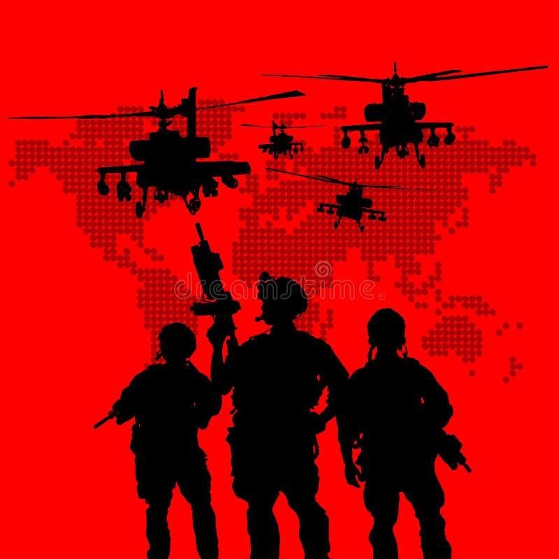Silhouet van militaire militairen royalty-vrije illustratie