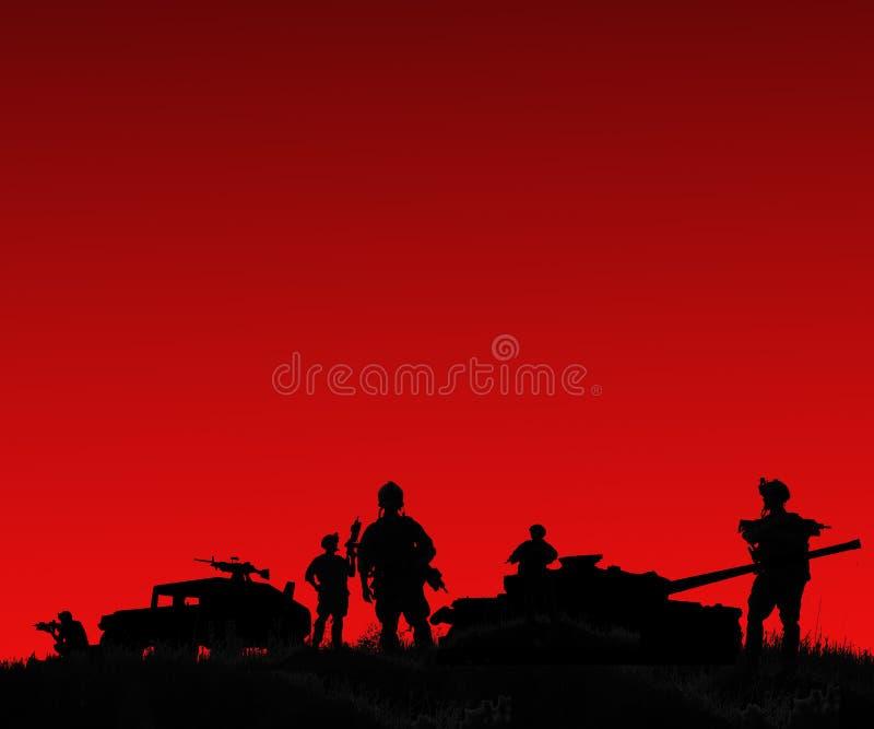 Silhouet van militaire militairenteam of ambtenaar met wapens en royalty-vrije illustratie