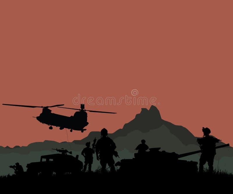 Silhouet van militaire militairenteam of ambtenaar met wapens en stock illustratie