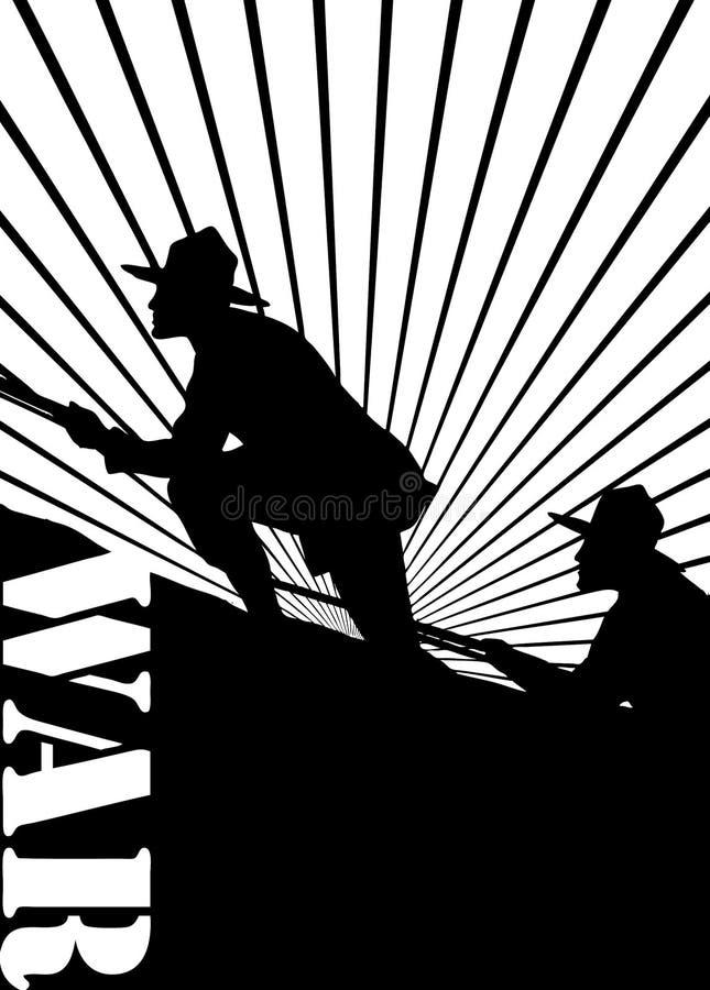 Silhouet van militairen bij oorlog. royalty-vrije illustratie