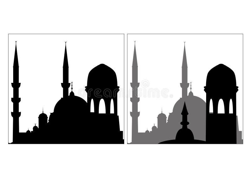 Silhouet van Moskee royalty-vrije illustratie