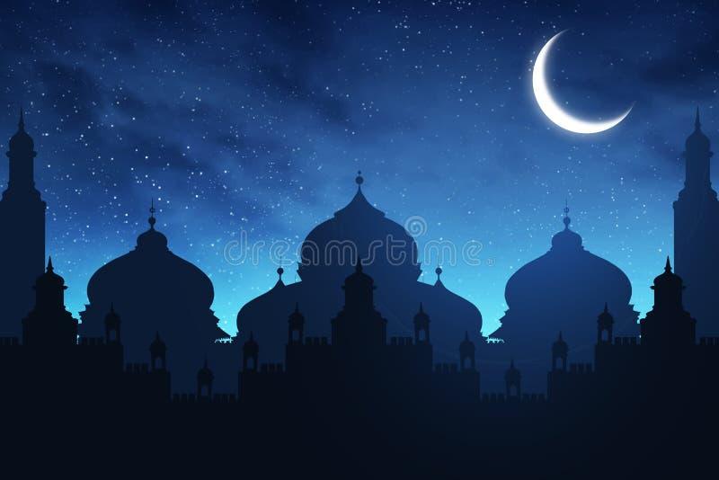 Silhouet van moskee bij nacht stock afbeelding