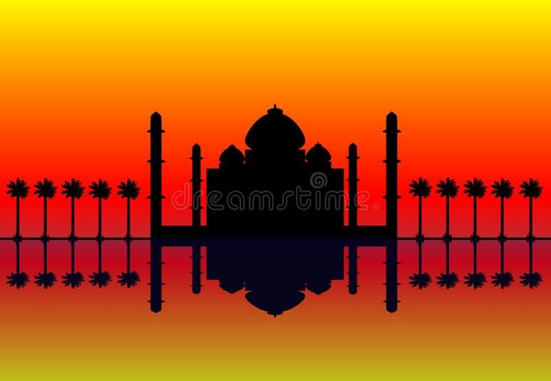 Silhouet van moskee bij zonsondergang stock illustratie