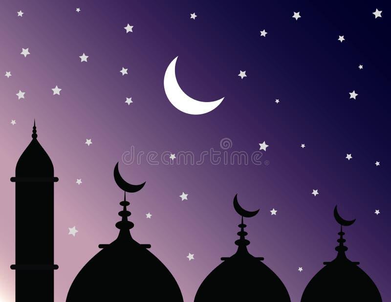 Silhouet van moskee en koepelmening bij een sterrige nacht royalty-vrije stock foto