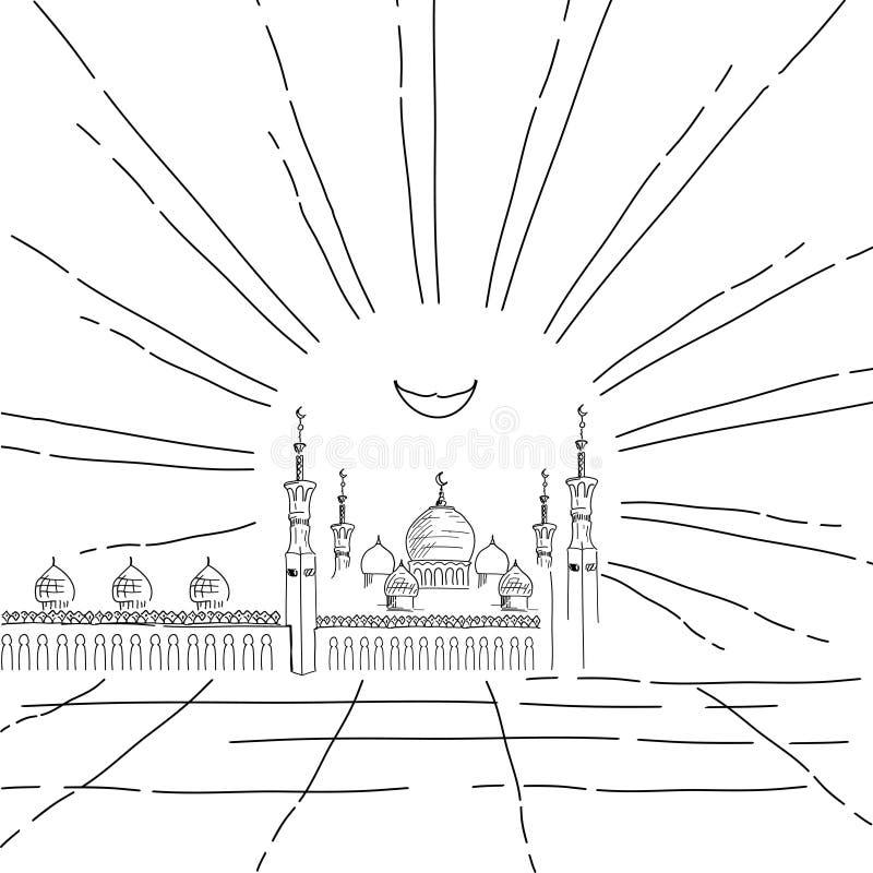 Silhouet van moskee met minaretten stock illustratie