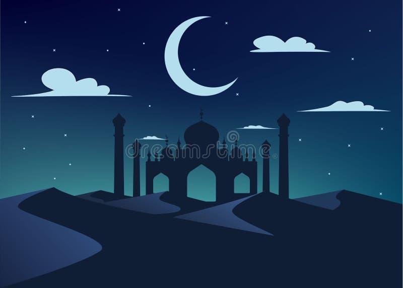 Silhouet van moskee in nachtwoestijn royalty-vrije illustratie