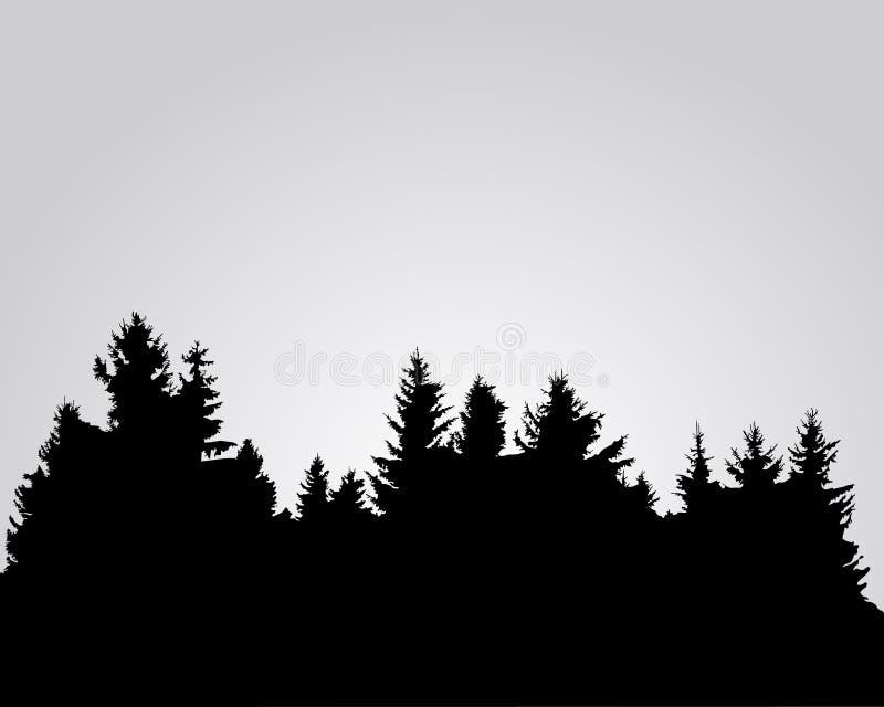 Silhouet van net bos vector illustratie