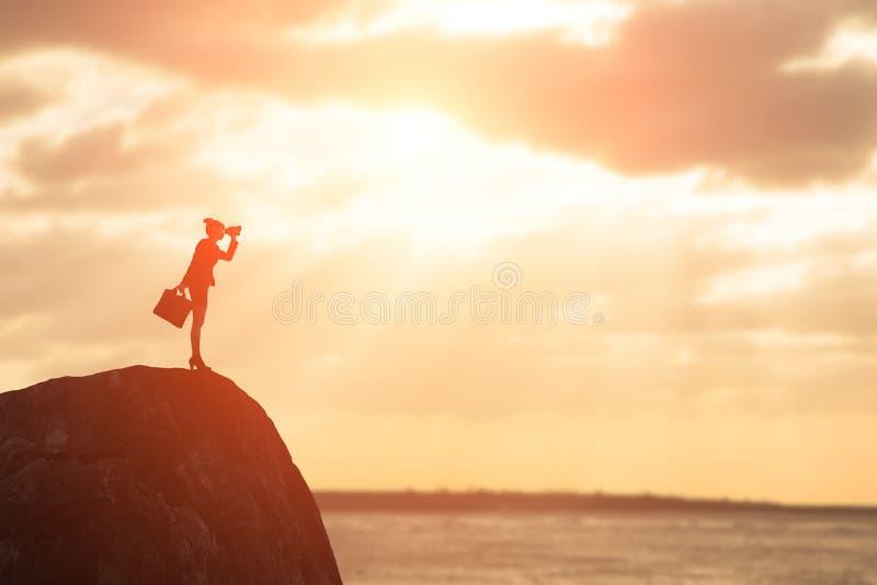 Silhouet van onderneemster stock foto