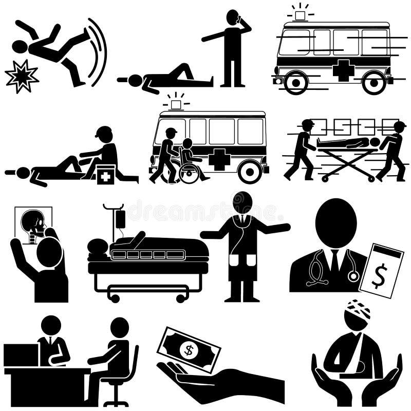 Silhouet van ongeval en de verzekeringsdienst vector illustratie