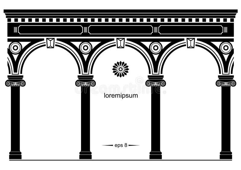 Silhouet van overspannen klassieke voorgevel vector illustratie