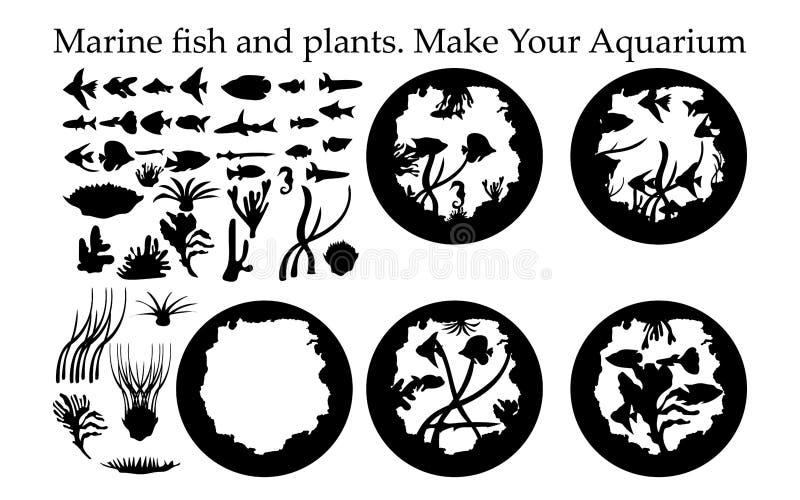 Silhouet van overzeese vissen en installaties en aquarium vector illustratie