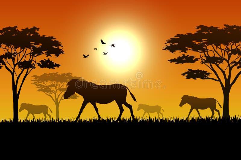 Silhouet van paard bij savanah royalty-vrije illustratie