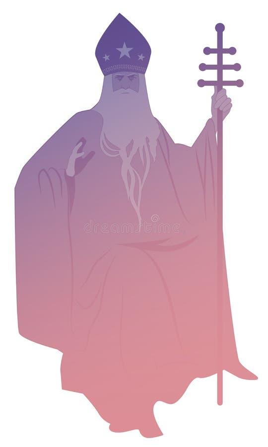 Silhouet van paus met baard en mijter met sterren, houdend een bisschopsstaf, die met zijn rechts zegenen, geïsoleerd op witte ac royalty-vrije illustratie