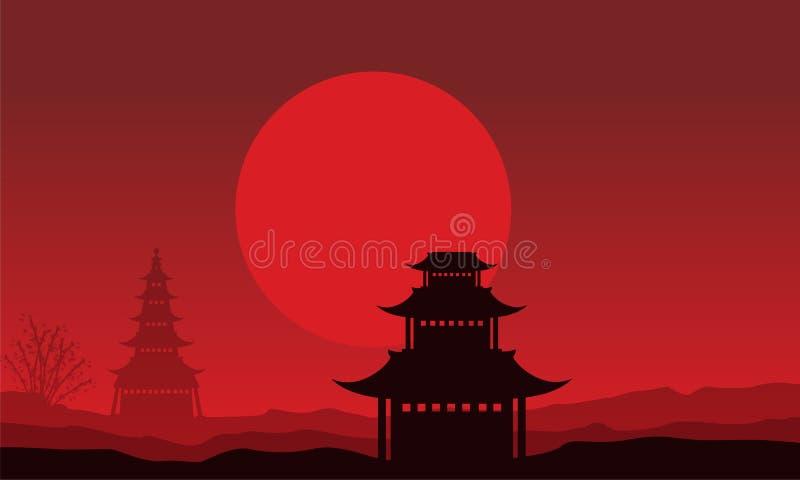 Silhouet van paviljoenlandschap op rode achtergronden royalty-vrije illustratie