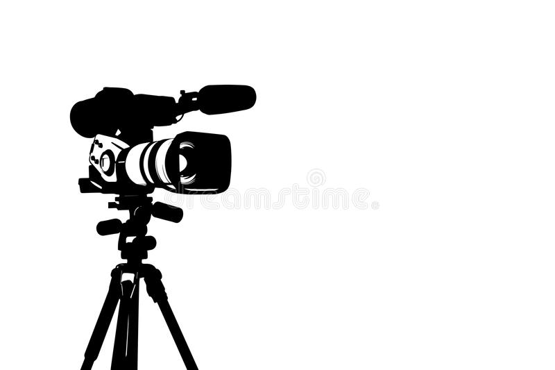 Silhouet van professionele videocamera royalty-vrije illustratie