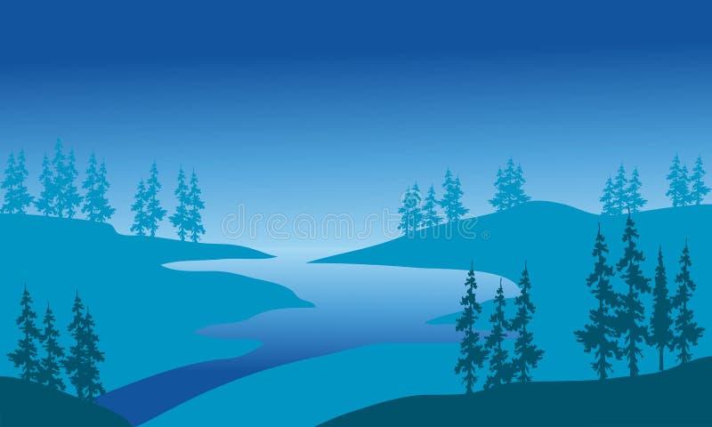 Silhouet van rivier en sparren royalty-vrije illustratie