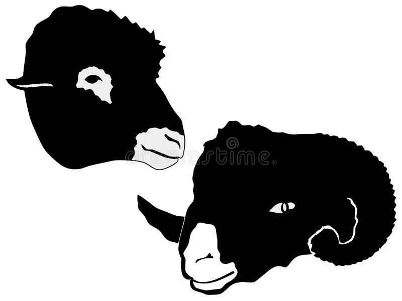 Silhouet van schapen stock illustratie