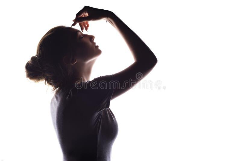 Silhouet van sensueel meisje, het profiel van het vrouwengezicht op wit geïsoleerde achtergrond stock afbeelding
