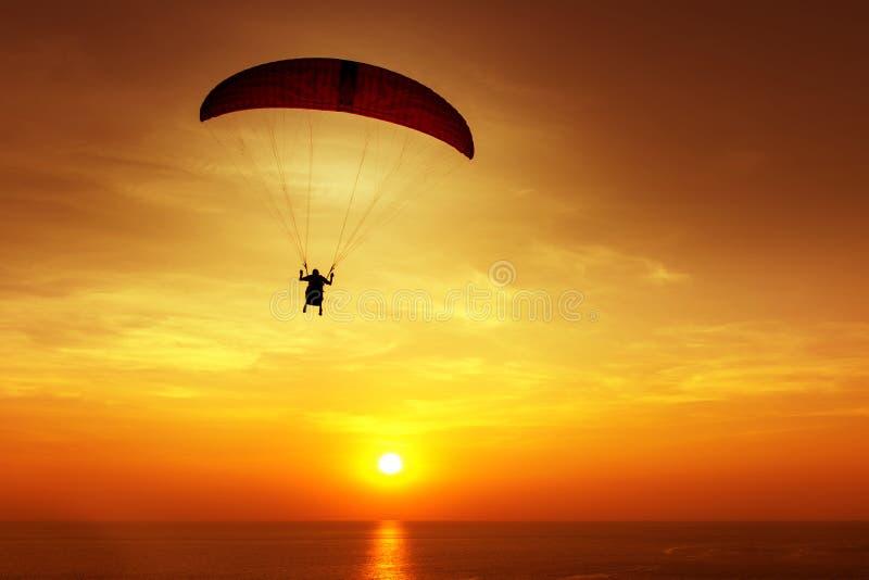 Silhouet van skydiver op achtergrondzonsondergang royalty-vrije stock afbeelding