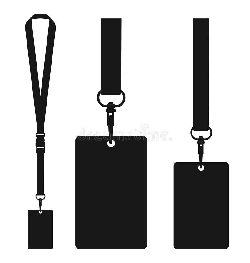 Silhouet van sleutelkoord met halsboord Vlak kleurensymbool vector illustratie