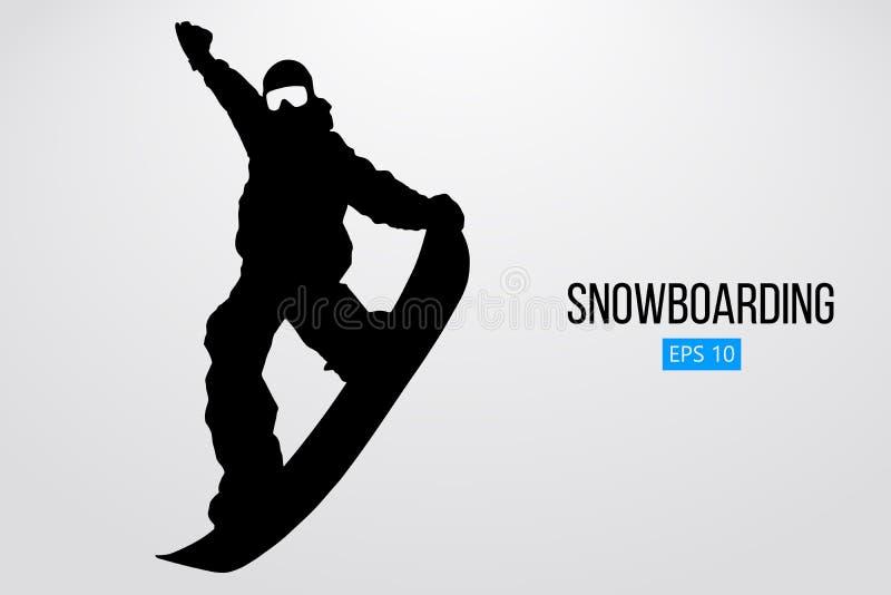 Silhouet van snowboarder geïsoleerd springen Vector illustratie
