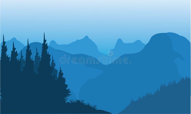 Silhouet van sparren en berg vector illustratie