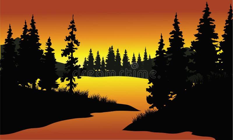 Silhouet van sparren in rivier royalty-vrije illustratie