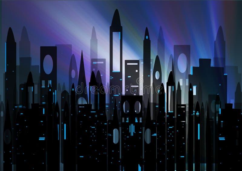 Silhouet van stad stock illustratie
