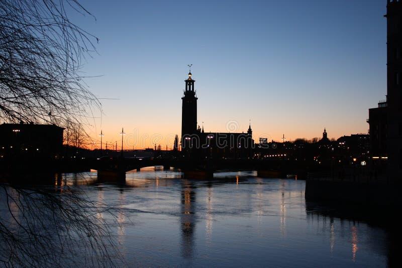 Silhouet van Stockholm royalty-vrije stock afbeeldingen