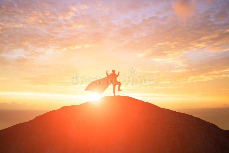 Silhouet van super zakenman royalty-vrije stock afbeelding
