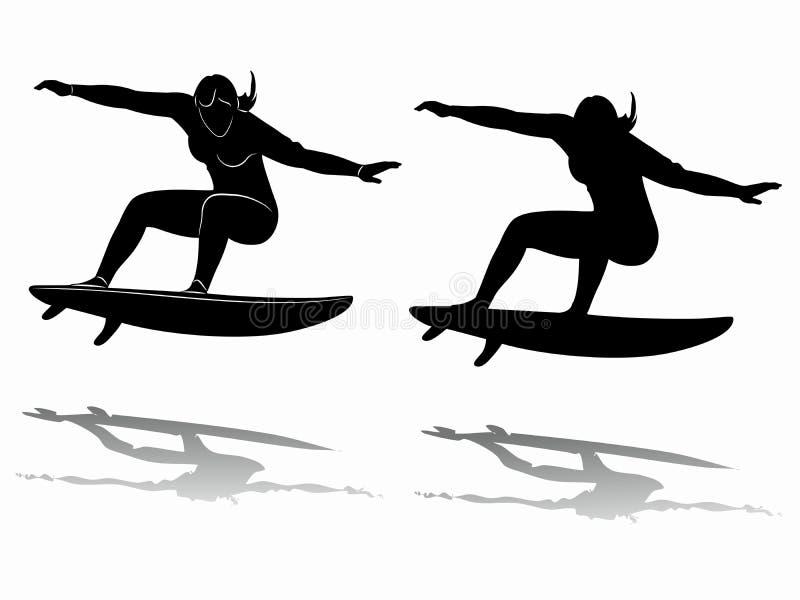 Silhouet van surfer, vectortekening royalty-vrije stock fotografie