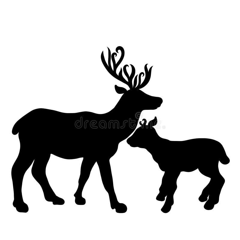 Silhouet van twee herten, moeder en haar baby royalty-vrije illustratie