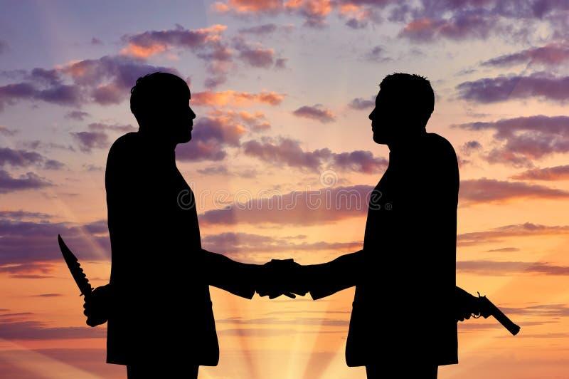 Silhouet van Twee Zakenlieden die Handen schudden stock illustratie