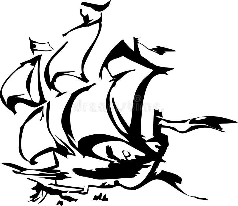 Silhouet van varend schip royalty-vrije illustratie