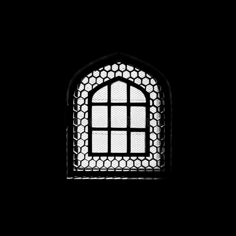 Silhouet van venster in de moskee stock foto