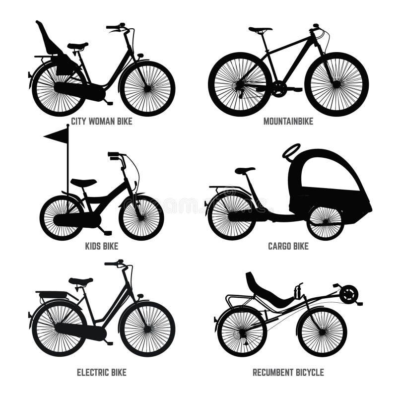 Silhouet van verschillende fietsen voor kinderen, de mens en vrouw Vector zwart-wit illustraties vector illustratie