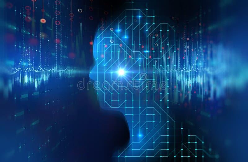 Silhouet van virtuele mens op de technologie 3d ziek van het kringspatroon stock fotografie