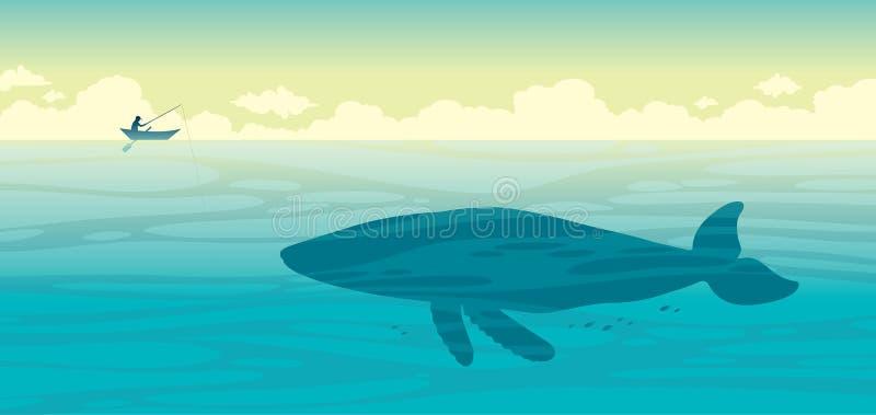 Silhouet van visser en grote walvis op een overzees vector illustratie